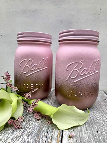 Set of Rose Gold and Blush Pink Painted Mason Jars Bridal Shower Centerpiece