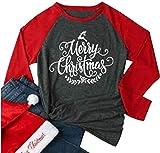 Merry Christmas Leaf Print Baseball T-shirt Women Causal Raglan Long Sleeve Tees size L (Red)