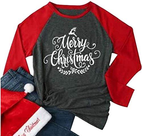 Merry Christmas Leaf Print Baseball T-Shirt Women Causal Raglan Long Sleeve Tees Size XL (Red)