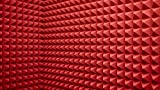 Pannelli Fonoassorbenti Piramidali, 10 Pezzi Rosso Pannelli Fonoassorbente per Podcasting, Studi di Registrazione, Uffici,Home Learning, Pannello Fonoassorbente