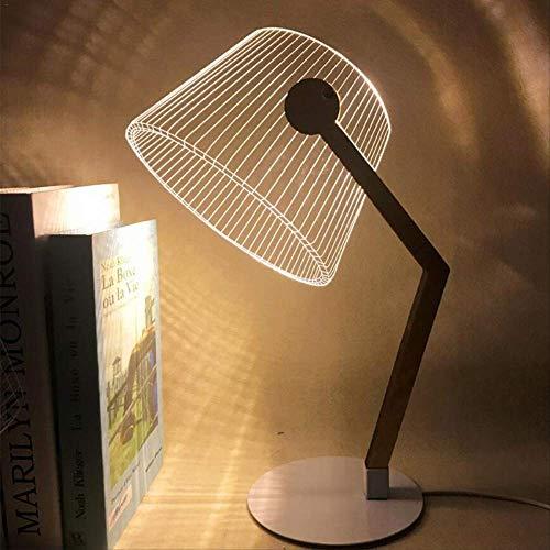 Lámpara de mesa LED con efecto 3D estéreo, visión LED, lámpara de escritorio de madera, soporte de pantalla de acrílico para salón, dormitorio, lámpara de lectura