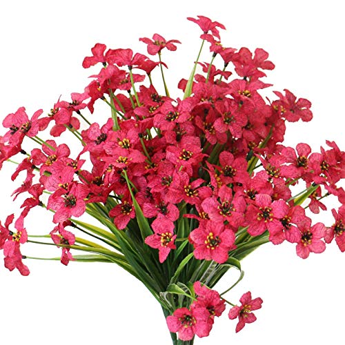 YXYQR 6 Pack Outdoor Artificial Flowers Decoration UV Resistant Outside Fake Silk Violet Flowers Arrangement for Window Box Vase Home Garden Porch (Rose Red)