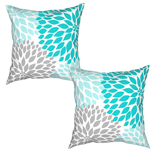 Nonebrand Throw Pillow Covers Teal White Turquoise Blue Gray Dahlia Mod Modern Decorative Square Cushion Covers Pillowcase for Sofa Couch Bed Chair-2 Pack 18 X 18 Inches