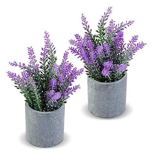 CADNLY Fake Lavender Plant Potted - Lavender Artificial Flowers in Grey Pot - Modern Farmhouse...