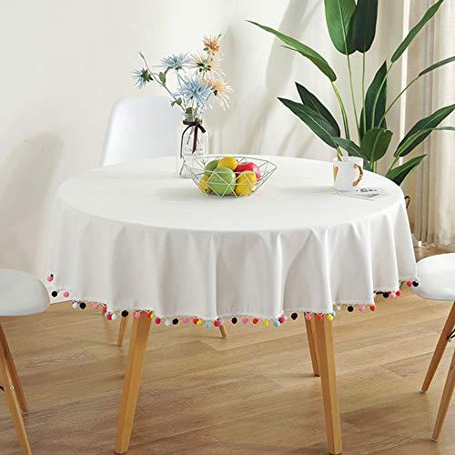 PRG Tischdecke Rund Weiß,Polyester Baumwolle Fleckschutz Pflegeleicht Staubdichte Abwaschbare Quaste Tischdecke Geeignet FüR Home Küche Weihnachts...