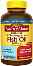 Nature Made Fish Oil Burp-Less Ultra Omega 3 1400 mg One Per Day, 90 Softgels Value Size, Fish Oil Omega 3 Supplement For Heart, Brain, and Eye Health