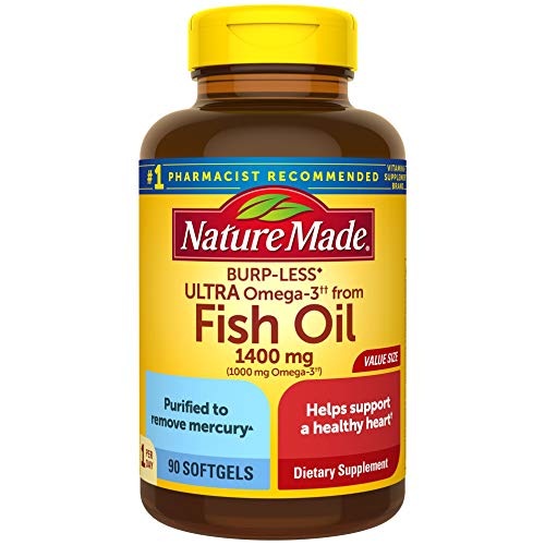 Nature Made Fish Oil BurpLess Ultra Omega 3 1400 mg One Per Day 90 Softgels Value Size Fish Oil Omega 3 Supplement For Heart Brain and Eye Health