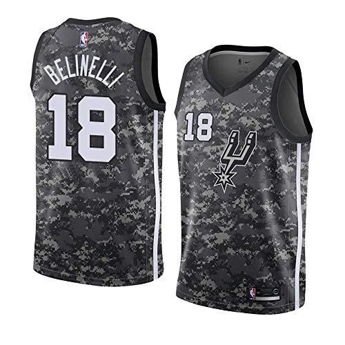 Lalagofe Marco Belinelli #18 San Antonio Spurs, Nero, Jersey Maglia Canotta, Stile di Abbigliamento Sportivo Palestra (XL, Camouflage Grigio)