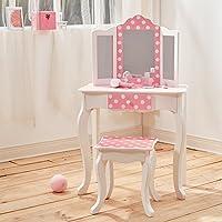 Mesa de tocador rosa de madera con espejo y banqueta de Teamson KidsTD-11670F