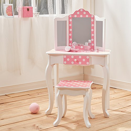 Teamson Kids Pretend Play Kids Vanity Table and Chair Vanity Set with Mirror Makeup Dressing Table with Drawer Fashion Polka Dot Prints Gisele Play Vanity Set Pink White