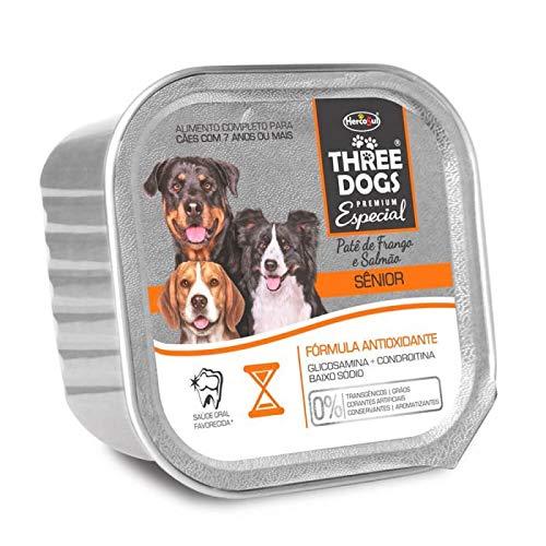 A Linha de Ração Úmida Patê Three Dogs Premium Especial Cães Senior Biofresh Raça Idosos, Sabor Frango 150g