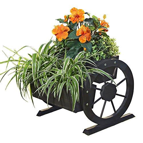 Melko Wagenrad Pflanzkübel aus Holz 44 x 42 x 40 cm – schöner Deko-Pflanzkübel mit großen Wagenrädern, Pflanzwagen, Fichtenholz