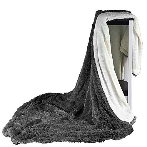 SIKESONG Long Super Doux Fluffy des Pierres Élégant Canapé Lit Couverture Couverture Gray 130×160Cm