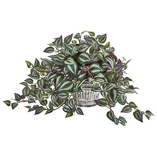 "Nearly Natural 15"" Wandering Jew Artificial Vintage Metal Hanging Planter Silk Plants..."
