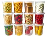 DuraHome - Deli food Storage Containers with Lids 32 oz, Quart Pack of 24 Leak-proof Freezer Safe...