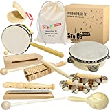 Stoie's International Wooden Music Set for Toddlers and Kids- Eco Friendly Musical Set with A Cotton Storage Bag - Promote Environment Awareness, Creativity, Coordination and Have Lots of Family Fun