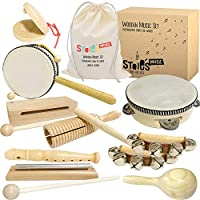 Stoie's Musical Instruments Set for Toddler and Preschool Kids Music Toy - Wooden Percussion Toys for Boys and Girls - Promotes Early Development and Educational Learning