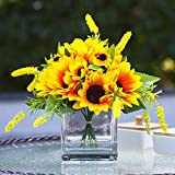 Enova Home Mixed Silk Sunflower Arrangement Flower Centerpiece in Clear Glass Vase with Faux Water for Home Decoration