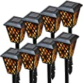 Morvat Outdoor Flame Flickering Solar Path Lights, Walkway Solar Lighting, Solar Torch Light, LED Torch Solar Landscape Lighting, Waterproof Flaming Solar Torches, Pack of 8