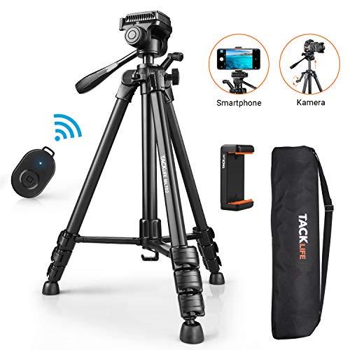 Stativ, TACKLIFE 1,5m Stativ für Handy/Kamera, Maximale Tragkraft: 5kg, 360° Schwenkbar, Mit Bluetooth-Fernbedienung, Handyhalterung, 1/4'' Schraubhalterung, Tasche - MLT02