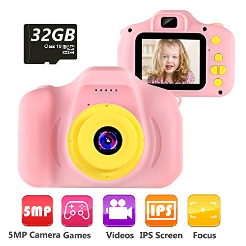 VATENIC Kids Camera Children Digital Cameras Toy 1080P 2.0' HD Toddler Video Recorder Shockproof Great Gifts for Kids Gifts for 3-10 Year Old Boys Girls (Included 32GB SD Card) (Pink)