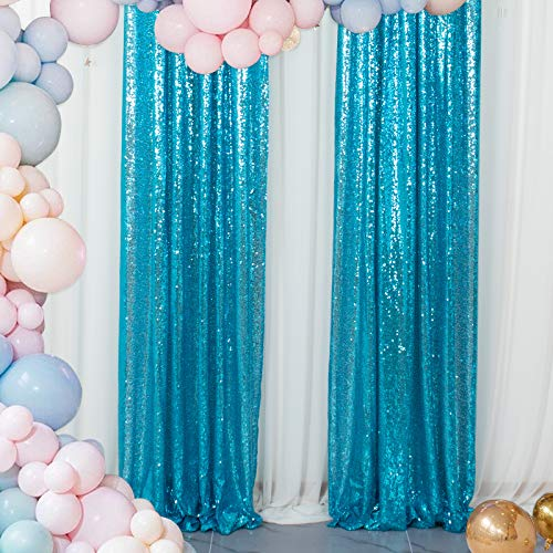Sequin Curtains 2 Panels Turquoise 2FTx8FT Sequin Photo Backdrop Aqua Sequin Backdrop Curtain Pack of 2 -1011E
