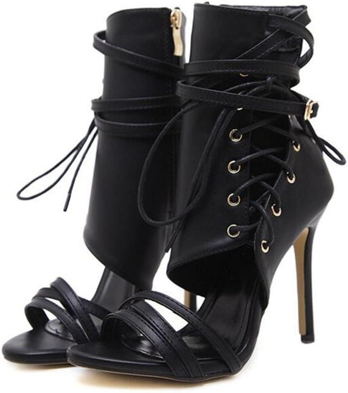 Coollight Women Open Toe Heels Ankle Leg Strappy Booties High Heel Sandals shoes