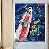 MXmama Cuadros modulares Marc Chagall Lienzo Arte de la Pared Surrealismo Pintura Impreso Cartel de la Novia Decoración del hogar Sala nórdica 50x70cm (sin Marco)