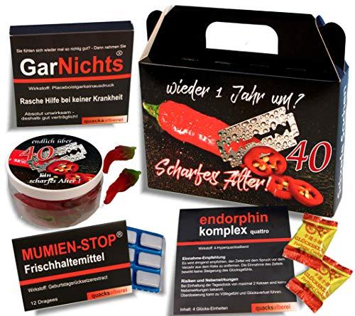 QUATSCHmanufaktur Koffer 🧳 / SCHARFES ALTER 🌶 / zum 40. Geburtstag (5-teilig) / Witzig / Partygeschenk 🎁 / Mitbringsel