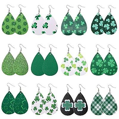 MTSCE 12 Pairs Clover Leather Earrings for Women Girls Gift, Saint Patrick's Day Green Drop Earrings Set, Lightweight Teardrop Faux Leather Earrings
