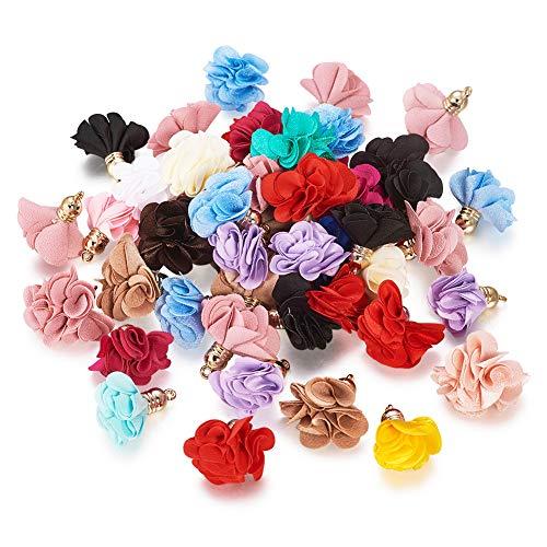 PandaHall, 50 ciondoli a forma di fiore, in tessuto, 25 ~ 30 x 28 ~ 35 mm, con tappo in acrilico, per orecchini, collane, portachiavi, gioielli