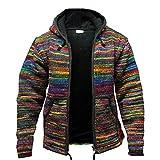Oneforus Männer Baja Jerga Hippie-Pullover mit Kapuze Lässig gestrickt Vibrant Block Bunter Hoodie-Pullover mit Reißverschluss