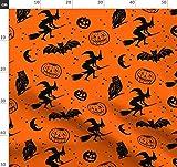 Halloween, Fledermäuse, Eulen, Monde, Hexen, Sterne Stoffe