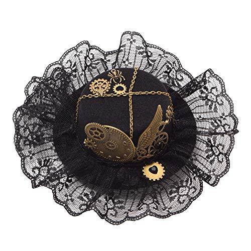 GRACEART Damen Steampunk Mini Zylinder Kopfbedeckungen, mini hut fascinator mit Haarklammer(J)