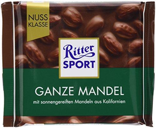 RITTER SPORT Ganze Mandel (11 x 100 g), Vollmilchschokolade mit knackigen, ganzen Mandeln, handverlesen aus Kalifornien, Tafelschokolade