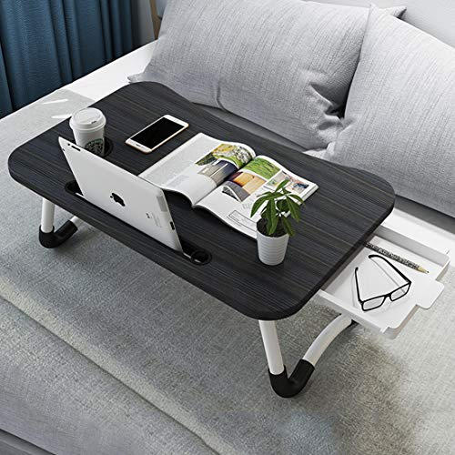Laptop Desk Foldable,Asltoy Lap Desk with Drawer Laptop Table Adjustable,Laptop Bed Tray Table Notebook Desk Laptop Tray for Bed Portable Notebook Bed Tray Lap Tablet with Cup Slot