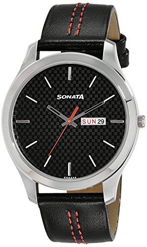 Sonata - Reloj analógico para hombre, esfera negra 77063SL06