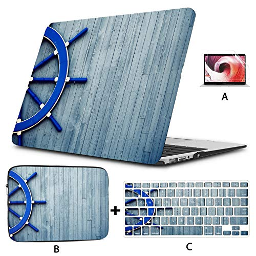 MacBook Air 2017 Case Old Vintage Wooden Helm Wheel MacBook Pro Case 15 Hard Shell Mac Air 11'/13' Pro 13'/15'/16' with Notebook Sleeve Bag for MacBook 2008-2020 Version