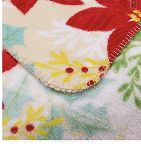 Mainstay Pointsetta Plush Fleece Throw Blanket