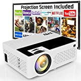 TMY V08 Projector with Projector Screen, 1080P Full HD Supported Video Projector, Mini Movie Projector Compatible with TV Stick Game Console HDMI VGA USB TF AV for Home Cinema & Outdoor Movie.