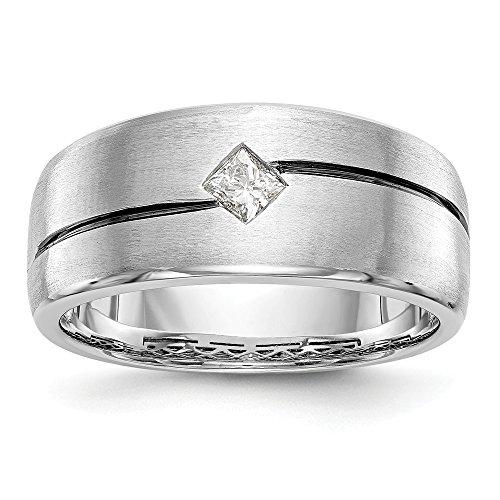 DIAMOND2DEAL INC Alianza para Hombre de Oro Blanco de 14 K con Diamantes esmaltados (0,2 CTH-SI2)