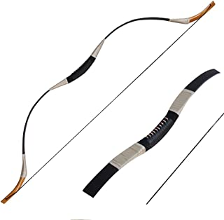 IRQ Traditional Recurve Bow Set Longbow Mongolian Horsebow One Piece Hunting Bow Left or Right Hand 30-65lbs Pure Handmade