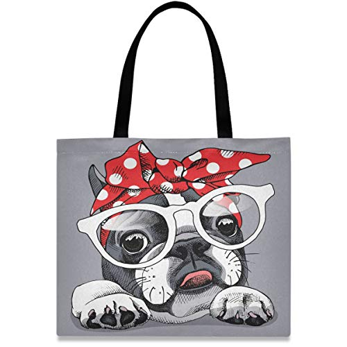 visesunny Women's Large Canvas Tote Shoulder Bag French Bulldog Animal Cartoon Top Storage Handle Shopping Bag Casual Reusable Tote Bag for Beach,Travel,Groceries,Books