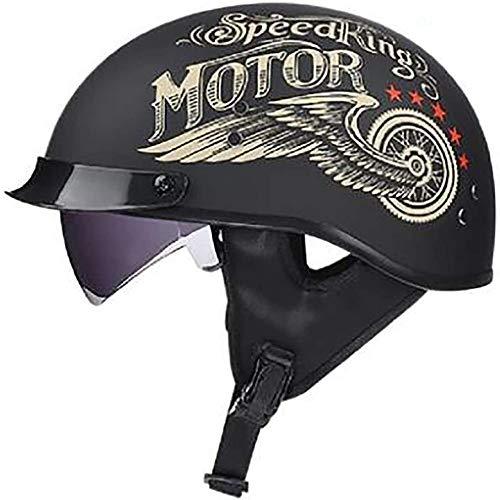 ZHXH Cabrio Harley Retro Halbhelm Erwachsene Männer und Frauen Motorboot Cruiser Roller Helm DOT-Zertifizierung 4/3 mit Sonnenblende Fahrradreise Straßenlaterne Mütze Halbhelm