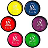Water Activated UV Black Light Face and Body Paint - 6 Color Pack - Costume, Halloween and Club Makeup - Safe for all Skin Types - Easy On and Off - 18g Cakes - by Splashes & Spills