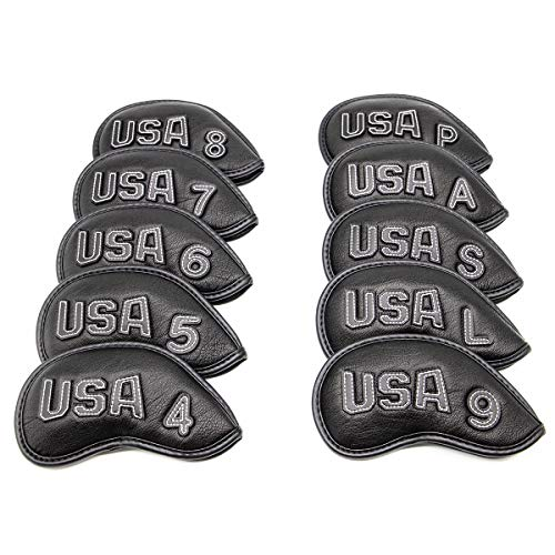 barudan golf Patriotic Black USA Golf Club Covers Set Iron Head Covers Protector Golf Acccessories for Men fits Callaway Titleist Taylormade Lob Wedge Wedges Synthetic Leather Well Made (Black-White)