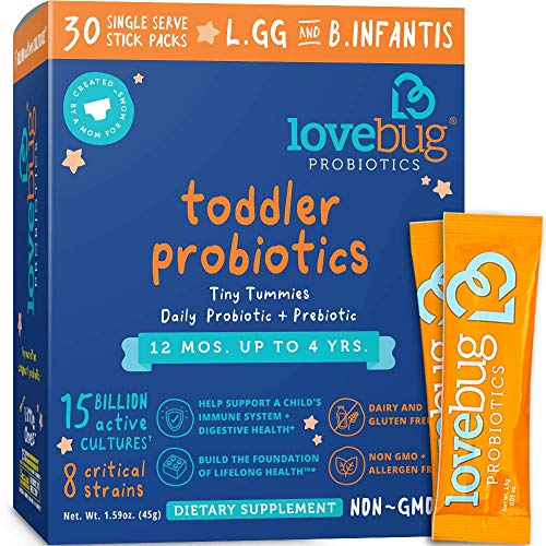 Lovebug Probiotic and Prebiotic for Kids, 15 Billion CFU, for Children 12 Months to 4 Years, Best Children's Probiotics, Contains 1 Gram Fiber, 30 Packets Image