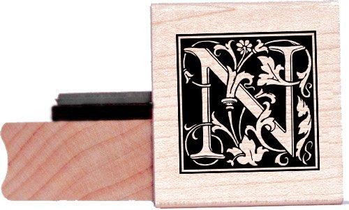 Tampon en caoutchouc alphabet - Lettre N à la William Morris
