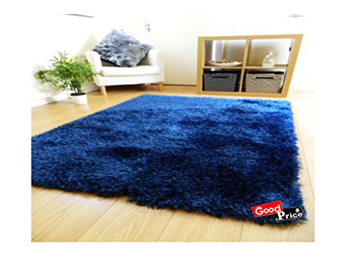 Good Price Solid Modern Carpet (Blue, Polyester Blend, 20 X 32 Inches)
