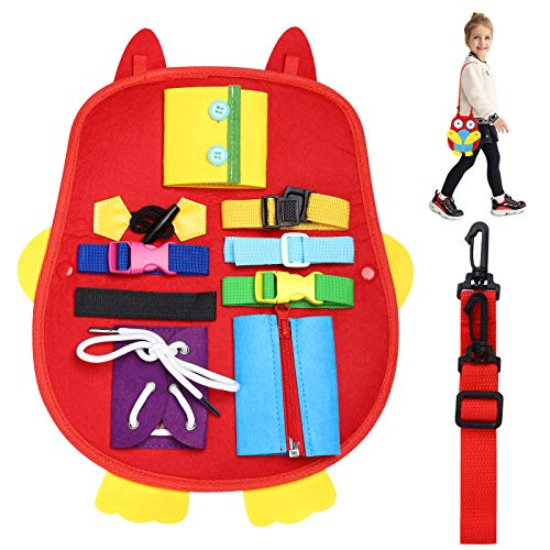 ZYPeey Toddlers Busy Board,Montessori Sensory Toy for Develop Basic Skills and Fine Motor Skills, Learn to Dress Toys for 1-4 Year Old Kids- Sensory Toy for Airplane or Car Travel
